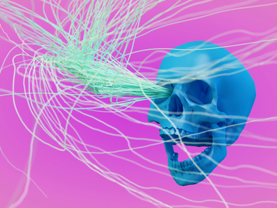 Skull candy c4d dof skull render