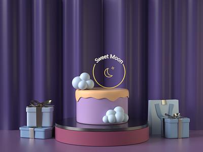 Sweet Moon Cake Poster illustration poster design branding