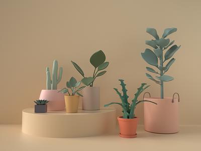 Plants Room 3d design illustration c4d