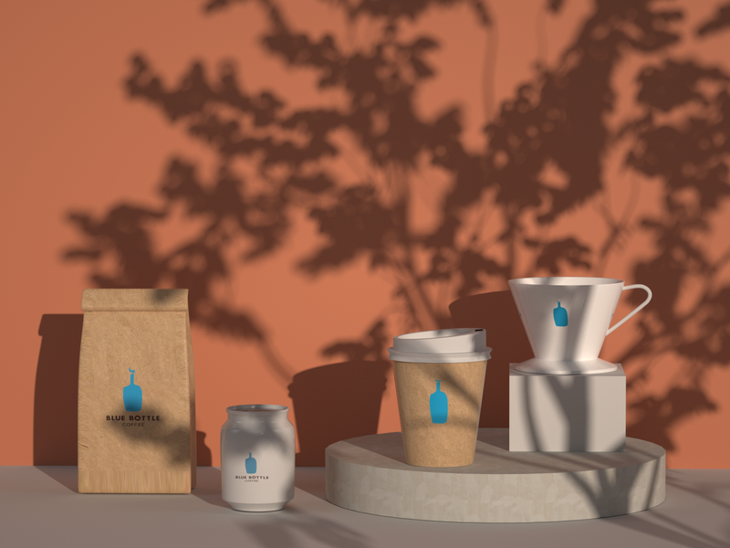 Blue Bottle Products Design posters products branding design c4d