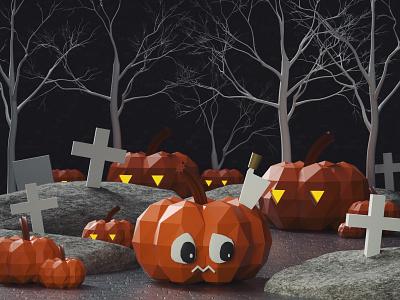 Scared Pumpink story helloween pumpink 3d design c4d