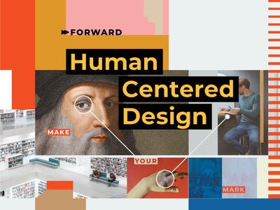 HCD forward centered human flat psychadelic identity branding design