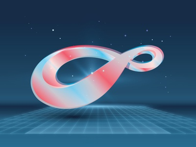 Mobius grid futurism future infinity loop mobius blue psychadelic illustration branding identity vector design