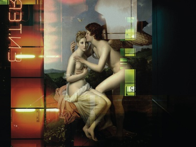 Love and Desire lights neon double exposure lovers couple desire love