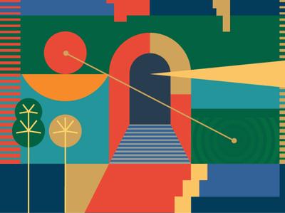 The Entrance geometric design geometric geometry doorway architect arch psychadelic flat illustration branding vector identity design