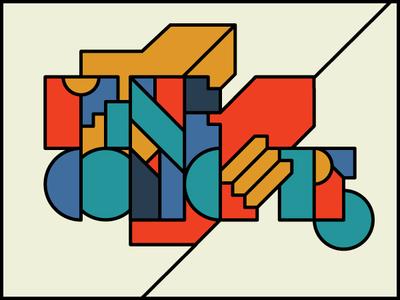 Fineconcept geometric flat typography branding vector illustration identity design