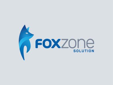 Foxzone Solution solution smart zone fox icon logo blue branding vector identity design
