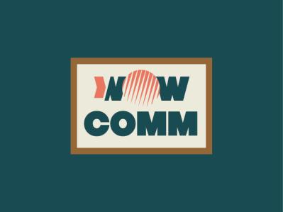 WOWCOMM pastel dots globe commercial communication wow flat logo typography branding vector identity design