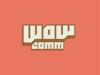 WOW soft pastel block commercial communication wow flat logo typography branding vector identity design
