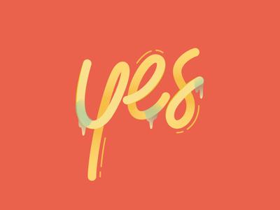 Yes! gummy organic yes psychadelic candy flat typography illustration vector design