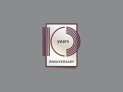Ten anniversary years ten icon emblem logo typography branding identity vector design