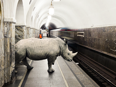 Rhino in the subway rhino subway collage illustration