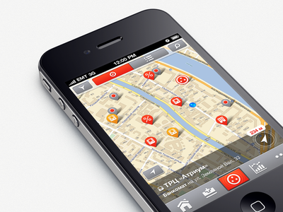 Map map pin interface ios red icons vector
