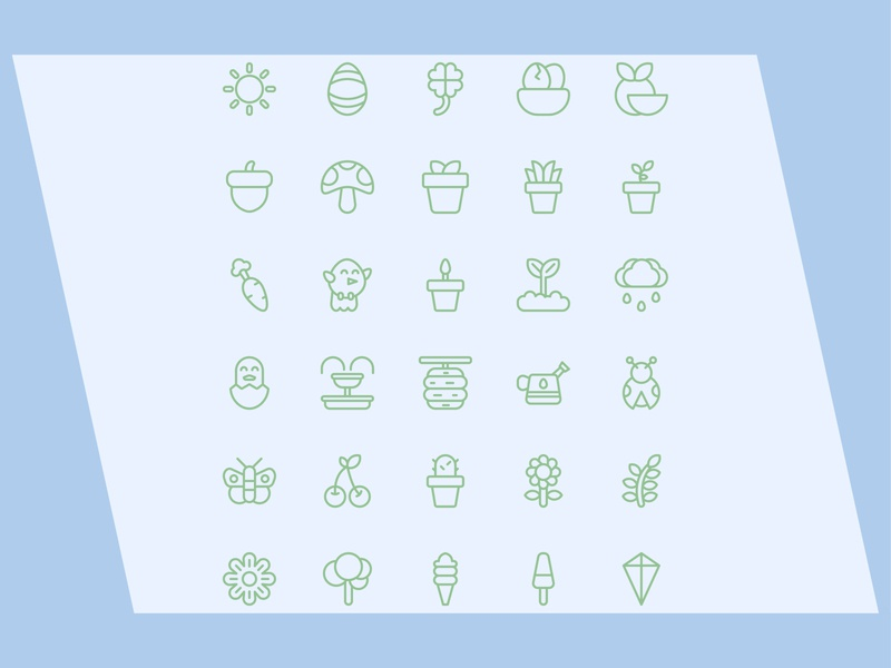 Spring ecology plant happy outline vector icon spring sun