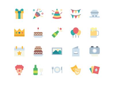 Party Icon Set icons uiux ui flatcion icon pack icon flat design