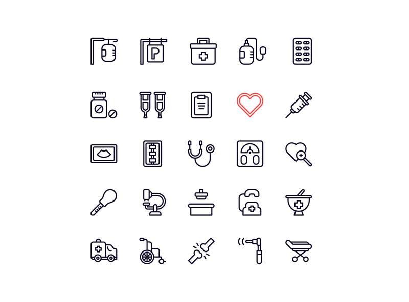 hospital icon set hospitality doctor bag search ambulance heart love drugs hospital