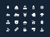 Winter icon with solid style