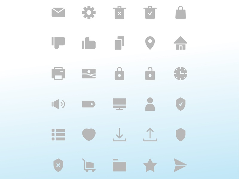 User interface icon set monitor tag spiker clock image printer home location copy dislike like bag trash setting mail