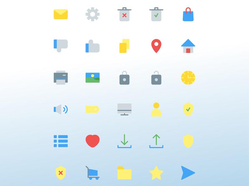 User interface icon set shield menu love clock spiker image printer home location copy dislike like bag trash setting mail