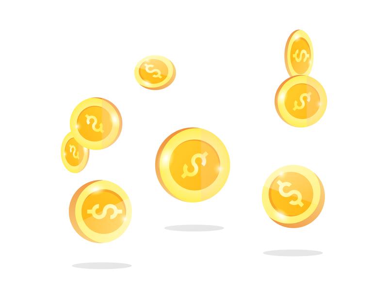 Coin vector gold business finance dollar icon vector coin