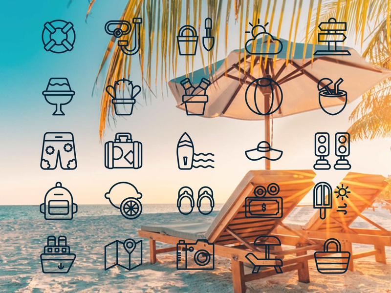 summer icon holiday money ice hat lemon relax outline icon summer