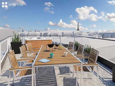 3D building in Paris paris architecture building 3dsmax 3d
