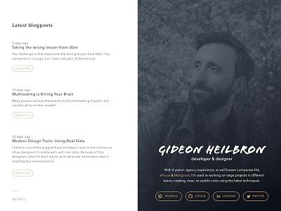 New portfolio/blog ember development developer gold white blue typography blog portfolio