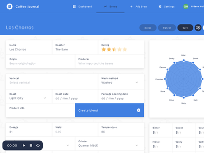 Coffee Journal V2 - Brew details/overview ember design dashboard blue brew coffee app