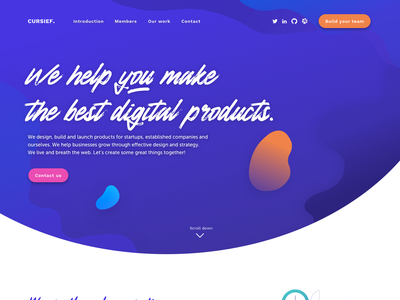 Cursief homepage 1.0 illustration icons blue design collective agency webdesign