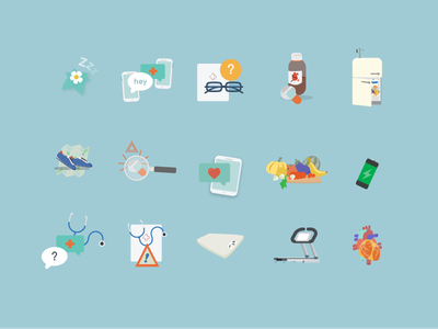 e-Health pictograms for @bepatient app physical health food weight picogram medical app design illustration ui e-health