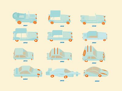 Car evolution vector car illustration design