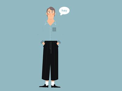 Men blue character design drawing illustration