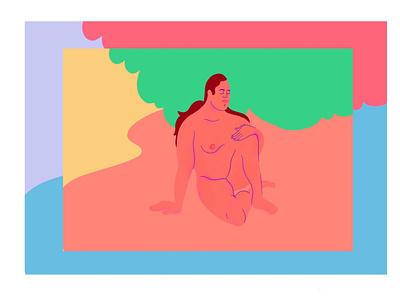 woman nature painting colors woman procreate illustration