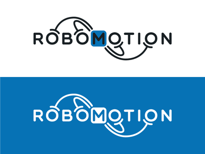 Robomotion technology tech robotics engineering design circle mono-line rounded round line symmetrical blue logo start-up creative tentacles arms 3dprinting motion robot
