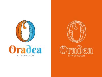 City of Oradea   O Logo fluid water architecture creative geometric branding brand mark logo line art line wire frame duality color light city branding city stained glass art art nouveau