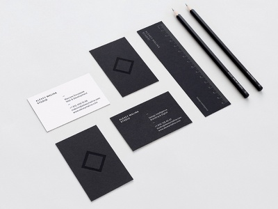 AMS identity stationery black ruller pencils business cards design intelligence alexey malina identity