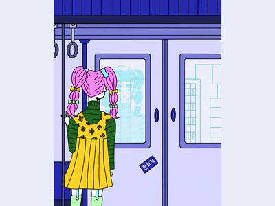 Daily Commute art abstract character design drawing line art illustration