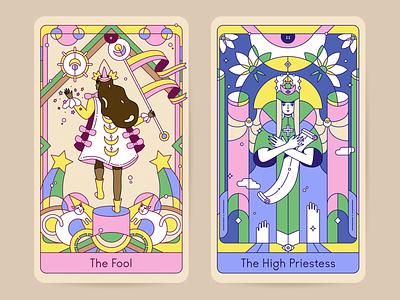 The Fool & The High Priestess tarot card tarot art character design drawing line art illustration