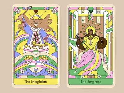The Magician & The Empress tarot card tarot art character design drawing line art illustration