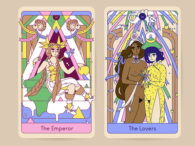 The Emperor & The Lovers tarot cards tarot character design drawing line art illustration
