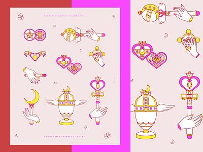 Magical Girl Weapons fanart anime sailormoon poster design line art illustration
