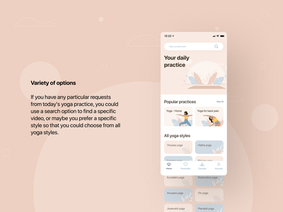 YOGI  - your daily practice | Mobile App interface calm relax clean mobile app video player fitness dashboard ios healthcare iso lifestyle stats relaxation mobile health design illustration yoga