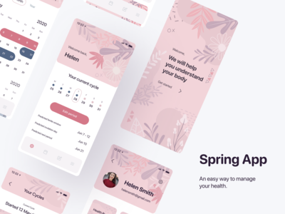 Spring App - women's health tracker | Mobile App girl women user screen calendar stats pink health care healthcare onboarding tracker period tracker health app female health female app ios cycle period women health health