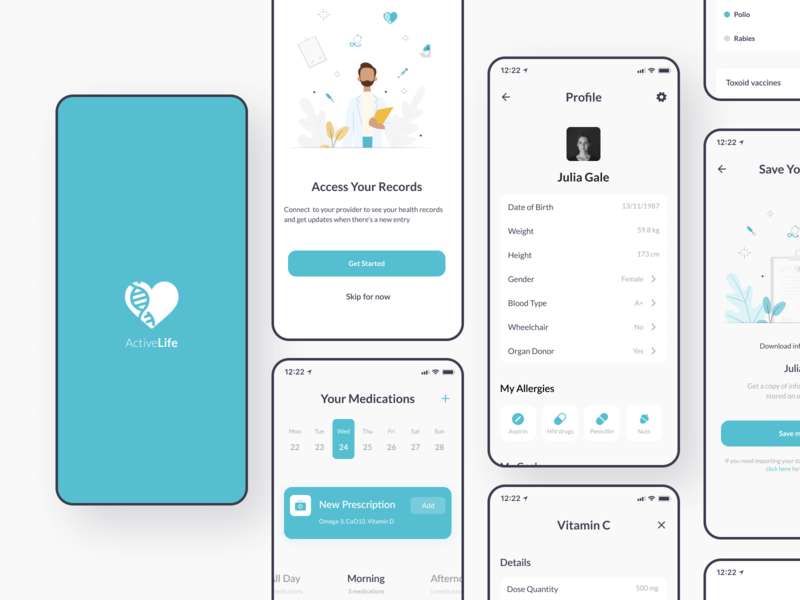 More screens | ActiveLife App app design minimal interface ui mobile app tracker fitness redords pills prescription calendar appointment doctor medical healthcare health