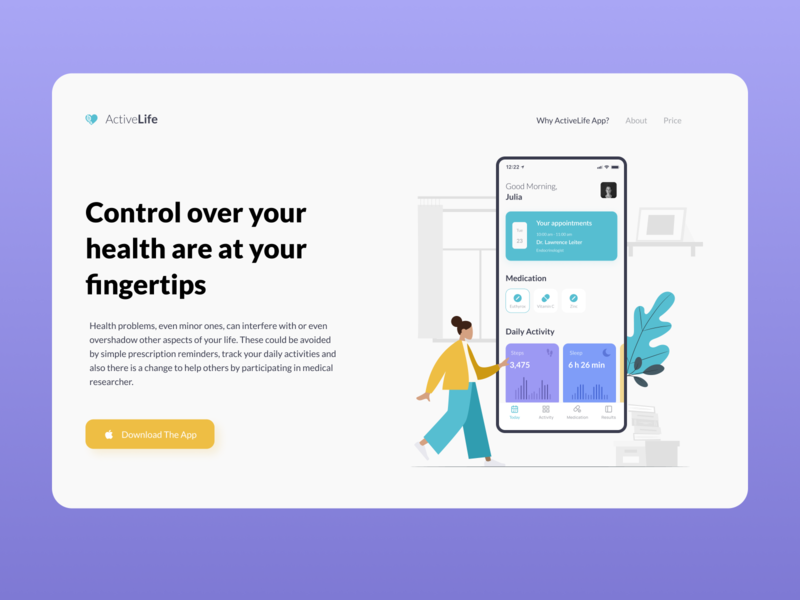 Landing page | ActiveLife App illustration minimal interface landingpage calendar appointment doctor medicine medical health app healthcare health