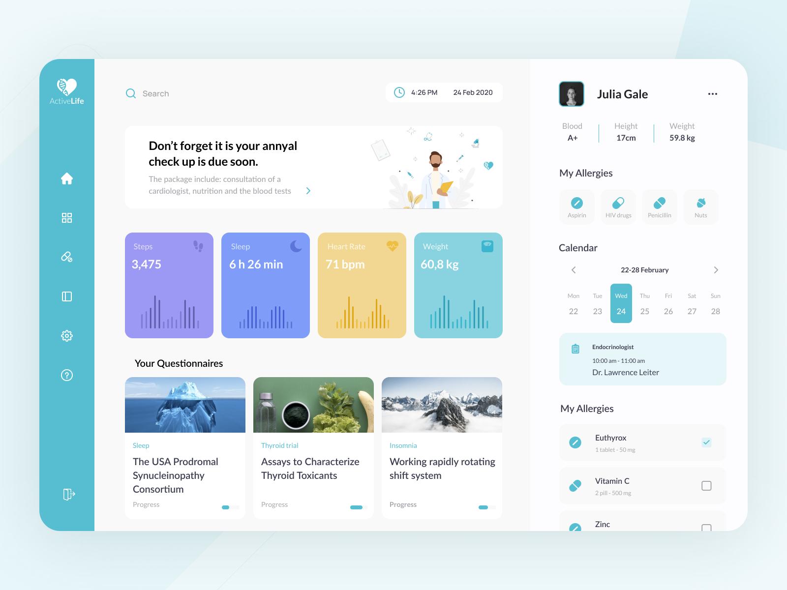 Dashboard |ActiveLife App