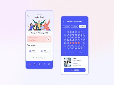 Friendy   Mobile Application events cinema flat design concept schedule friends planer app minimal design interface ux ui