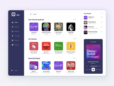 Airr Podcast   Dashboard podcasting play quotes notes listening music podcast website web minimal design interface ux ui