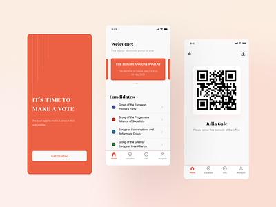 Time to Vote   Mobile Application electronic voting qr registration election vote app minimal design interface ux ui