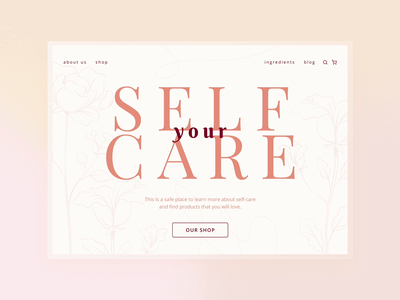 Your Self Care   Landing page beauty wellness health self-care promo landing page website web minimal design interface ux ui